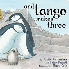 book cover with cartoon penguins