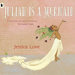 book cover with child wearing a blanket as a mermaid tail