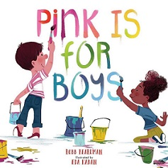 """book cover of two children painting words """"Pink is for Boys"""""""