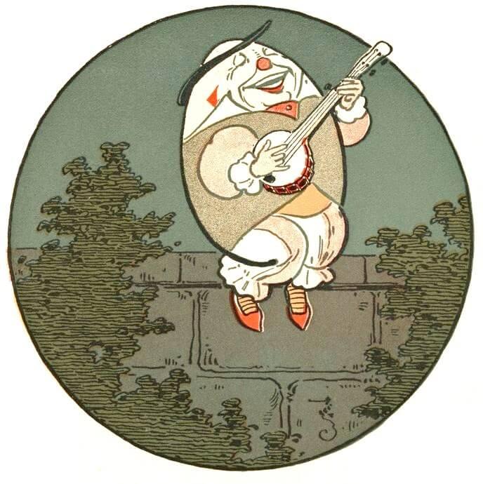 cartoon Humpty Dumpty sitting on wall