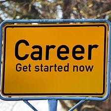 Road sign that states Careeer: Get started now
