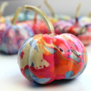 mini pumpkin with marbleized paint