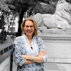 Author Fiona Davis outside the NY Public Library