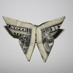 dollar bill folded into a butterfly