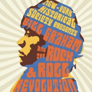 """Drawing of Bill Graham with Groovy font """"Bill Graham and the Rock & Roll Revolution"""""""