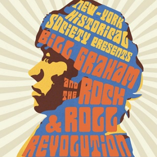 "Drawing of Bill Graham with Groovy font ""Bill Graham and the Rock & Roll Revolution"""