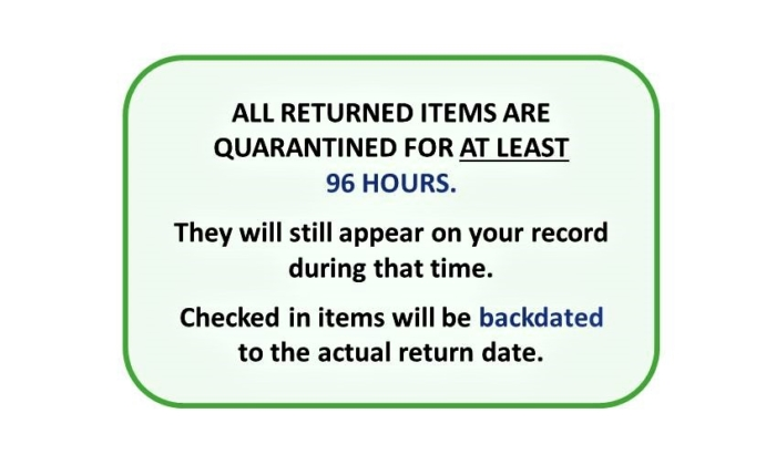 All Returns Quarantined 96 Hours