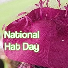words National Hat Day superimposed over floppy pink hat