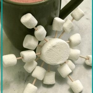 marshmallows and toothlicks arranged in snowflake pattern