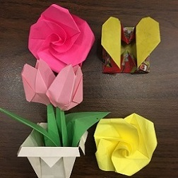 origami flowers and hearts