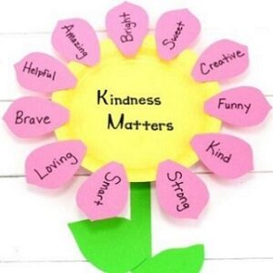 paper plate flower with Kindness Matters in center