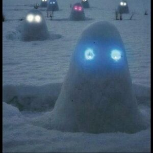 snow blobs at night with glowstick eyes