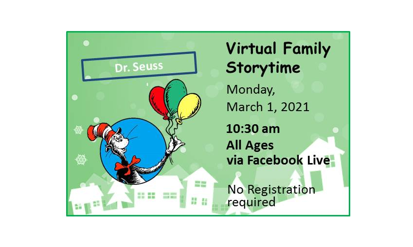 210301 Virtual Family Storytime Dr. Suess event