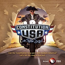 Man riding motorcycle with logo Constitution USA