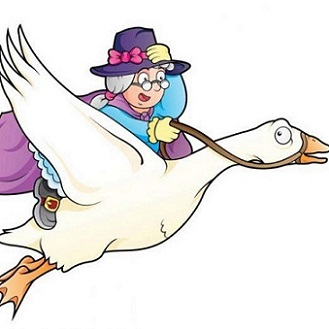 cartoon old woman riding on a goose