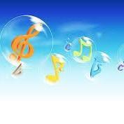 cartoon musical notes inside bubbles
