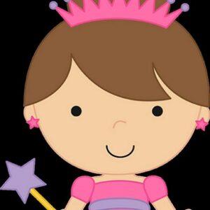 cartoon image of girl with princess dress and wand