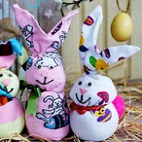 colorful bunnies made from socks