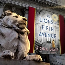 Banner for book The Lions of Fifth Avenue next to NY Public Library Lion
