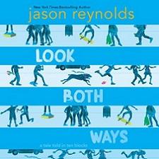 book jacket of Look Both Ways with cartoon figures walking city blocks