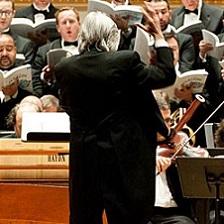 Conductor Harold Rosenbaum leads an orchestra