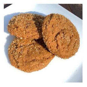 three round molasses spice cookies