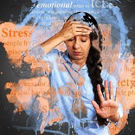stressed woman with hand on her forhead and word stress superimposed
