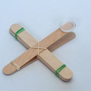 catapult made from tongue depressors and elastic bands