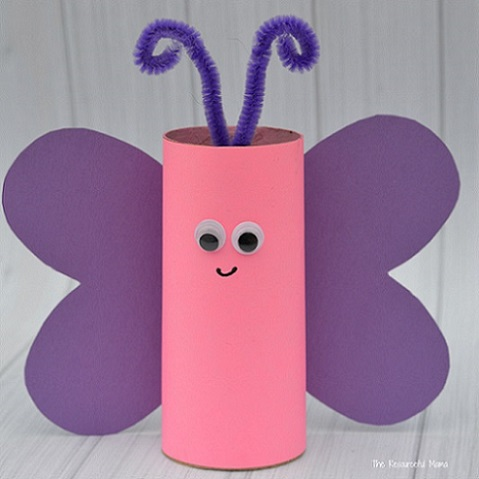 butterfly crafted from toilet paper tube