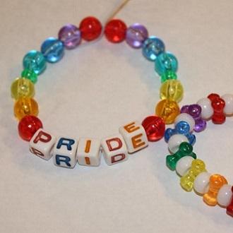 rainbow colored beaded bracelet
