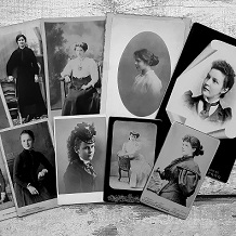 array of black and white portraits