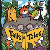 Cartoon animals reading a book titled Tails & Tales