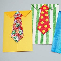 necktie card made of colored paper