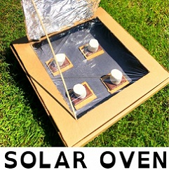 pizza box used as a solar oven to cook s'mores