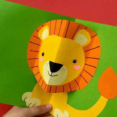 a lion pop-up card made from construction paper