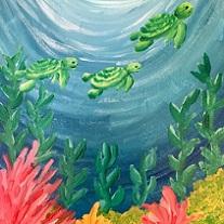 undersea painting of sea turtles