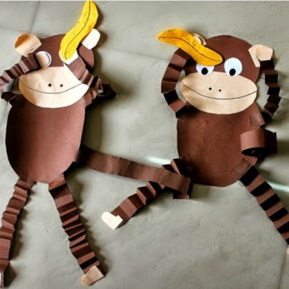 two monkeys made from construction paper