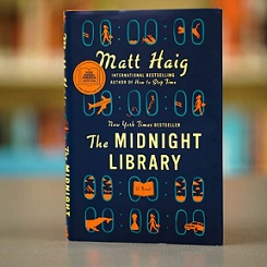 The Midnight Library book cover ffeaturing cartoon images of planes, whales and women walking