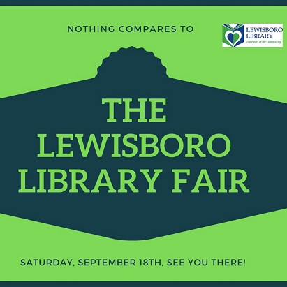 Graphic of The Lewisboro Library Fair in green writing on a blue background
