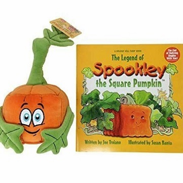 """the cover of children's book """"Spookley the Square Pumpkin,"""" which features a drawing of an orange square pumpkin in a patch. Alongside it is a stuffed figure of a square pumpkin."""
