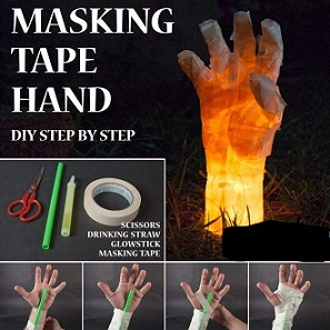hand made out of masking tape with a light tsick inside so it glows