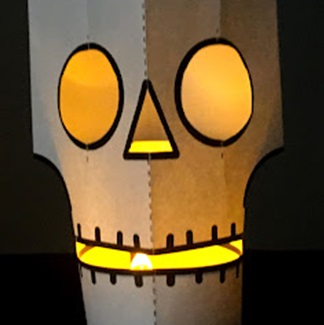 Paper Lantern cut out to look like a skull