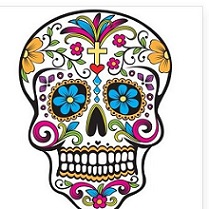 Day of the Dead Skull colored in with bright colors