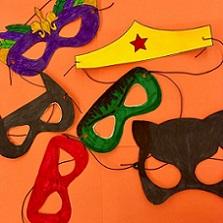 simple eye masks made from construction paper: Wonder Woman, Hulk, Batman